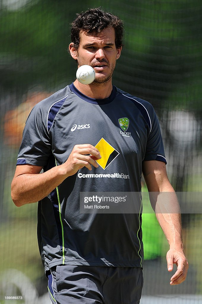 Clint Mckay prepares to bowl during an Australian training session at The Gabba on January 17, 2013 in Brisbane, Australia.