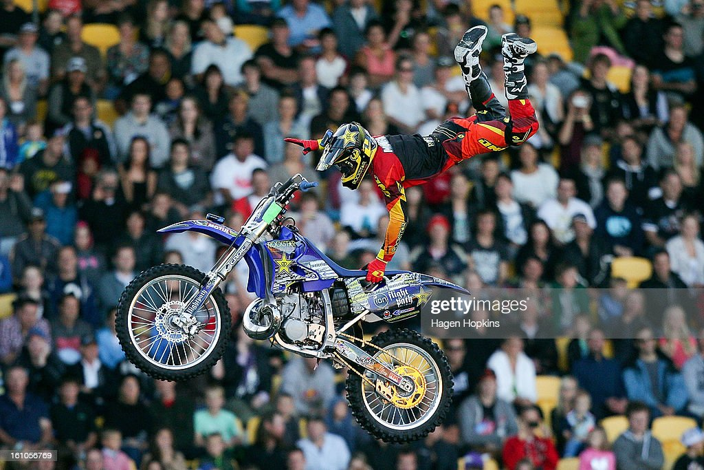 Clint Moore peforms an FMX trick during Nitro Circus Live at Westpac Stadium on February 9, 2013 in Wellington, New Zealand.