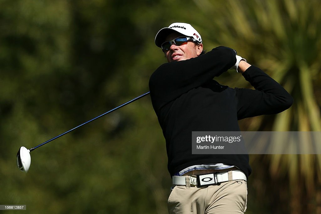 Clint Rice of Australia plays a shot during day one of the New Zealand Open at Clearwater Golf Course on November 22, 2012 in Christchurch, New Zealand.