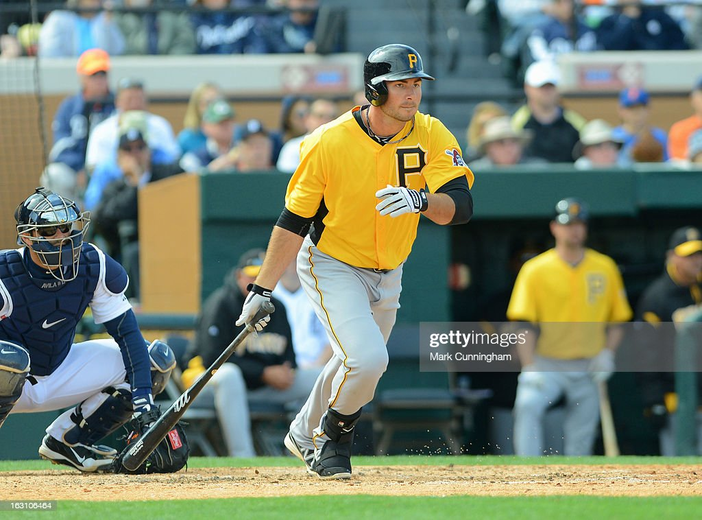 Clint Robinson #25 of the Pittsburgh Pirates bats during the spring training game against the Detroit Tigers at Joker Marchant Stadium on March 2, 2013 in Lakeland, Florida. The Tigers defeated the Pirates 4-1.