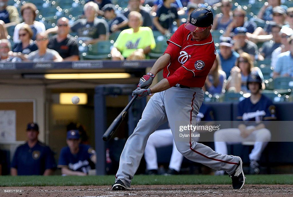 Clint Robinson #25 of the Washington Nationals hits a home run in the eighth inning against the Milwaukee Brewers at Miller Park on June 26, 2016 in Milwaukee, Wisconsin.