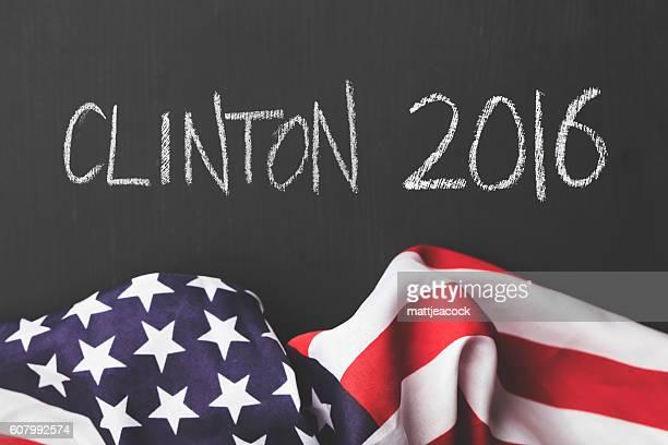 Clinton 2016 chalkboard and USA flag