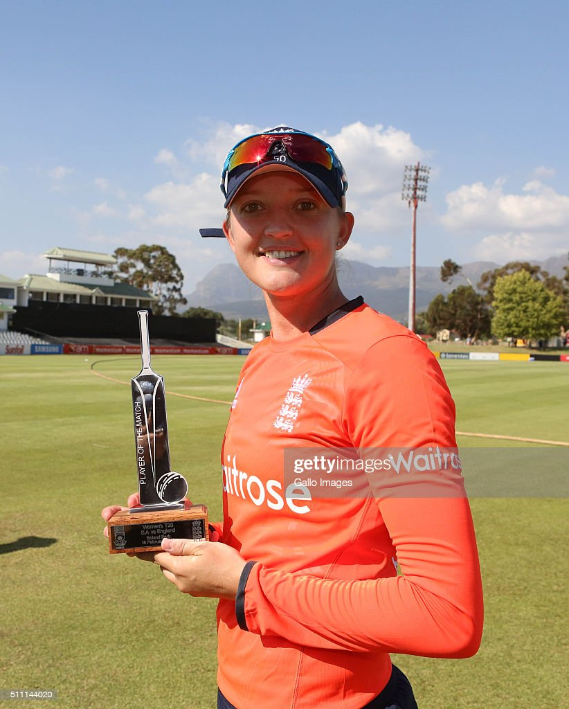 Clinton du preez a South African selector named Sarah Taylor of England Man of the Match during the 1st T20 International match between South African...
