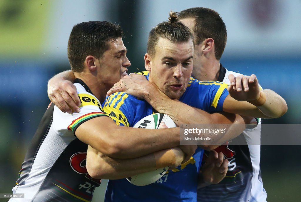 Clinton Gutherson of the Eels is tackled during the NRL Trial match between the Penrith Panthers and Parramatta Eels at Pepper Stadium on February 18, 2017 in Sydney, Australia.