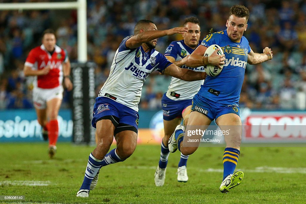 Clinton Gutherson of the Eels makes a break during the round nine NRL match between the Parramatta Eels and the Canterbury Bulldogs at ANZ Stadium on April 29, 2016 in Sydney, Australia.