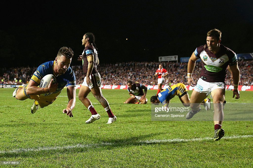 Clinton Gutherson of the Eels scores a try that was disallowed during the round seven NRL match between the Manly Sea Eagles and Parramatta Eels at Brookvale Oval on April 14, 2016 in Sydney, Australia.