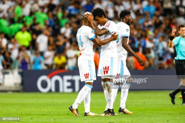 Clinton NJie and Luiz Gustavo of Marseille celebrate his goal during the Ligue 1 match between Olympique Marseille and Dijon FCO at Stade Velodrome...