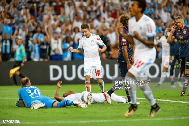 Clinton N'Jie and Maxime Lopez of Marseille celebrate his goal during the Ligue 1 match between Olympique Marseille and Dijon FCO at Stade Velodrome...
