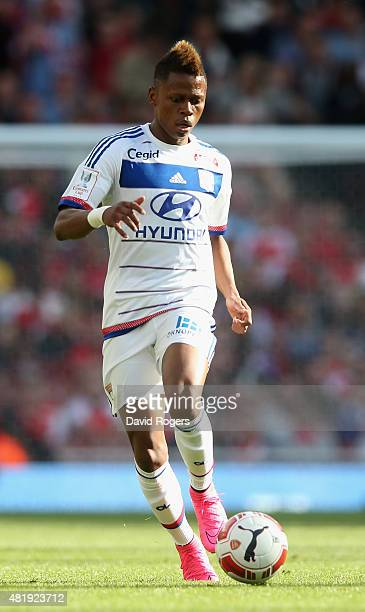 Clinton N'jie of Lyon runs with the ball during the Emirates Cup match between Arsenal and Olympique Lyonnais at the Emirates Stadium on July 25 2015...