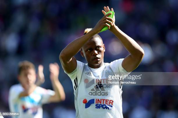 Clinton Njie of Marseille waves fans after the French Ligue 1 match between Toulouse FC and Olympique de Marseille at Stadium Municipal on April 8...