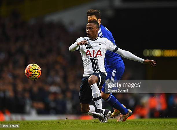 Clinton N'Jie of Tottenham Hotspur evades Cesc Fabregas of Chelsea during the Barclays Premier League match between Tottenham Hotspur and Chelsea at...