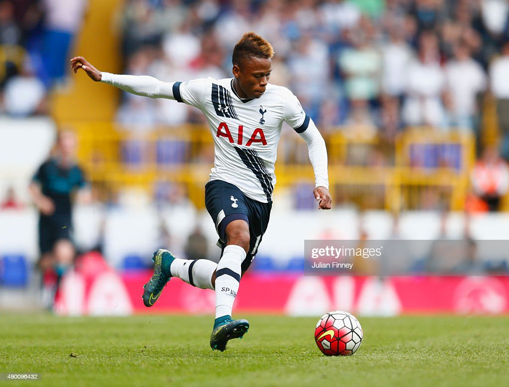 <a gi-track='captionPersonalityLinkClicked' href=/galleries/search?phrase=Clinton+N%27Jie&family=editorial&specificpeople=11702476 ng-click='$event.stopPropagation()'>Clinton N'Jie</a> of Tottenham Hotspur in action during the Barclays Premier League match between Tottenham Hotspur and Manchester City at White Hart Lane on September 26, 2015 in London, United Kingdom.