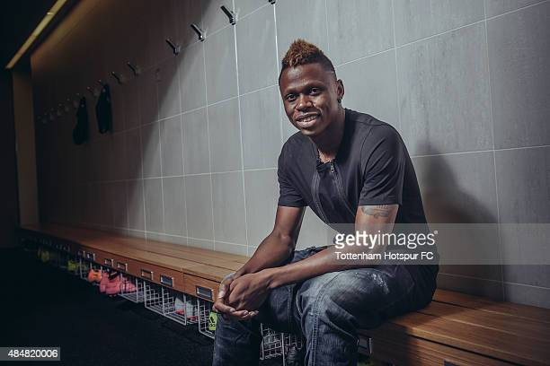 Clinton N'Jie of Tottenham Hotspur poses at the Tottenham Hotspur Training Centre on August 20 2015 in Enfield England