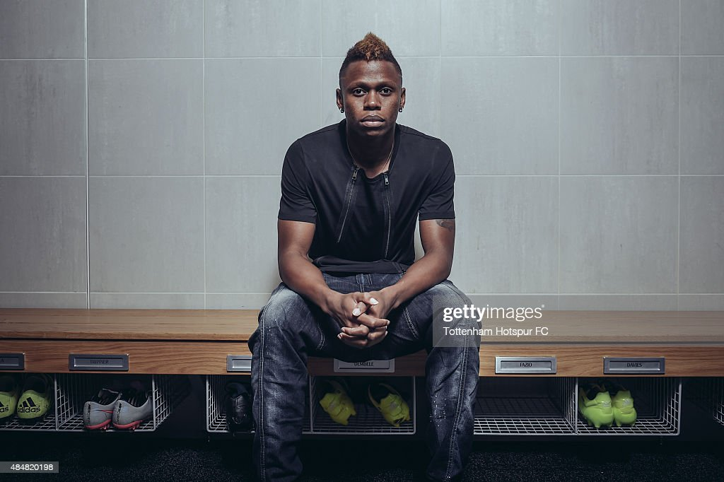 Clinton N'Jie of Tottenham Hotspur poses at the Tottenham Hotspur Training Centre on August 20, 2015 in Enfield, England.