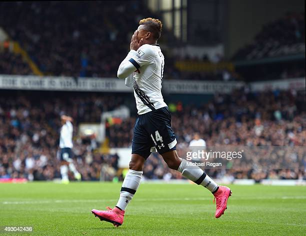 Clinton N'Jie of Tottenham Hotspur reacts after missing a chance during the Barclays Premier League match between Tottenham Hotspur and Liverpool at...