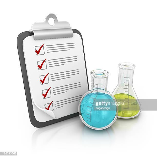 clipboard and beakers