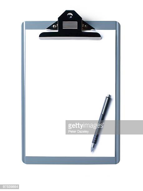 Clipboard on white background with copy space