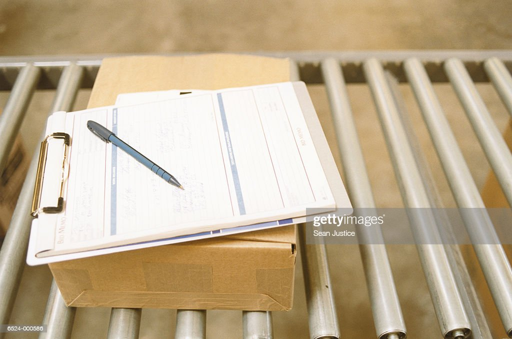 Clipboard, Pen and Box : Stock Photo