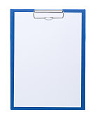 Blue clipboard with blank white sheet attached on white background