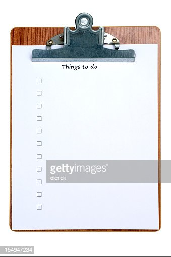 Clipboard with empty things to do list stock photo getty for Things that are empty