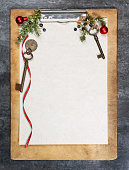 Clipboard with christmas background and free space for text.Clipboard with christmas background and free space for text.