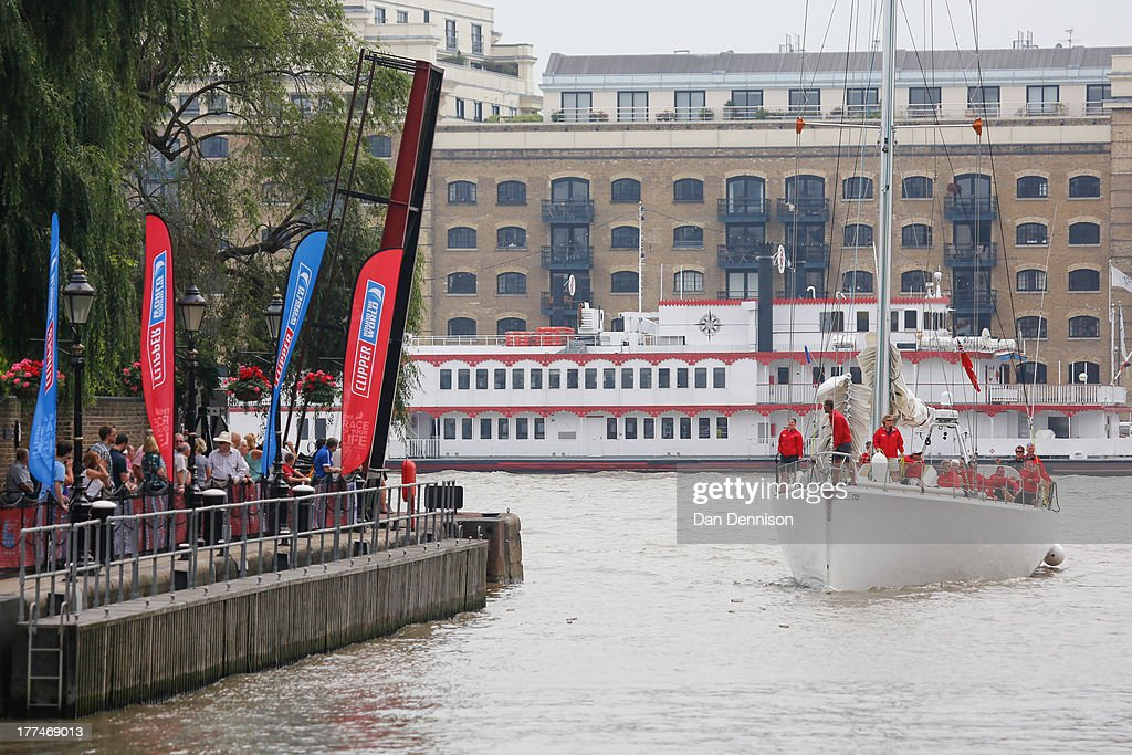 A Clipper 70 racing yacht prepares to dock in St Katherine's Dock, east London on August 23, 2013. The Clipper 2013-14 Round The World Yacht Race is a 40,000 mile, 8-leg course which begins on September 1 and will visit six continents, taking eleven months to complete.