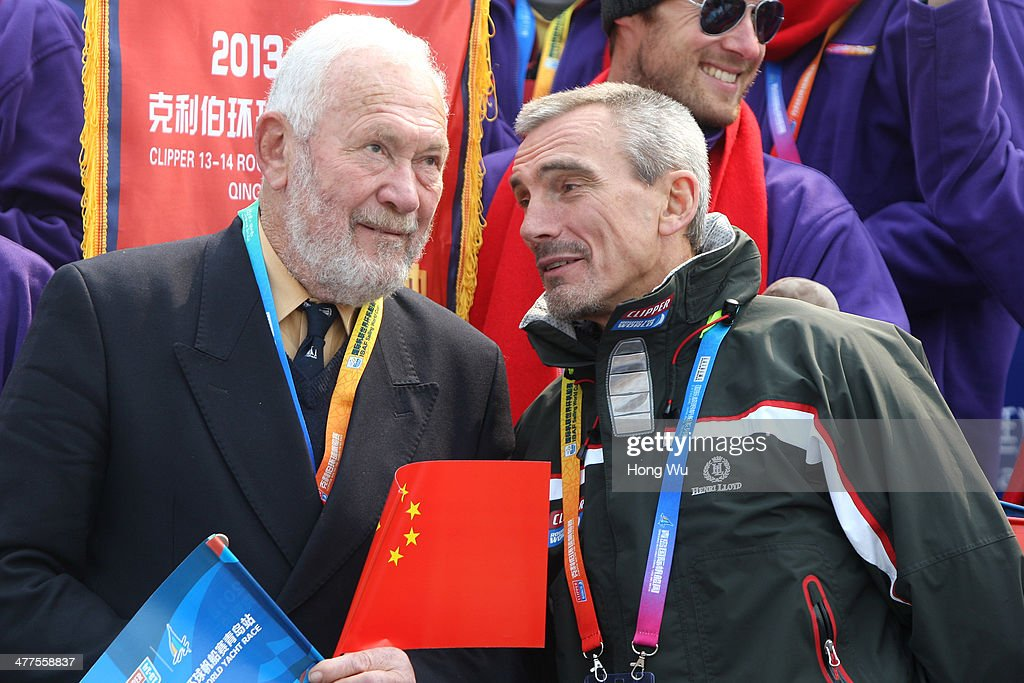 Clipper Race Chairman and Founder Robin Knox-Johnston (L) and William Ward, the CEO of Clipper Ventures attend a welcoming ceremony after finished leg 5 of the Singapore to Qingdao race of The Clipper 2013-14 Round The World Yacht Race on March 10, 2014 in Qingdao, China.