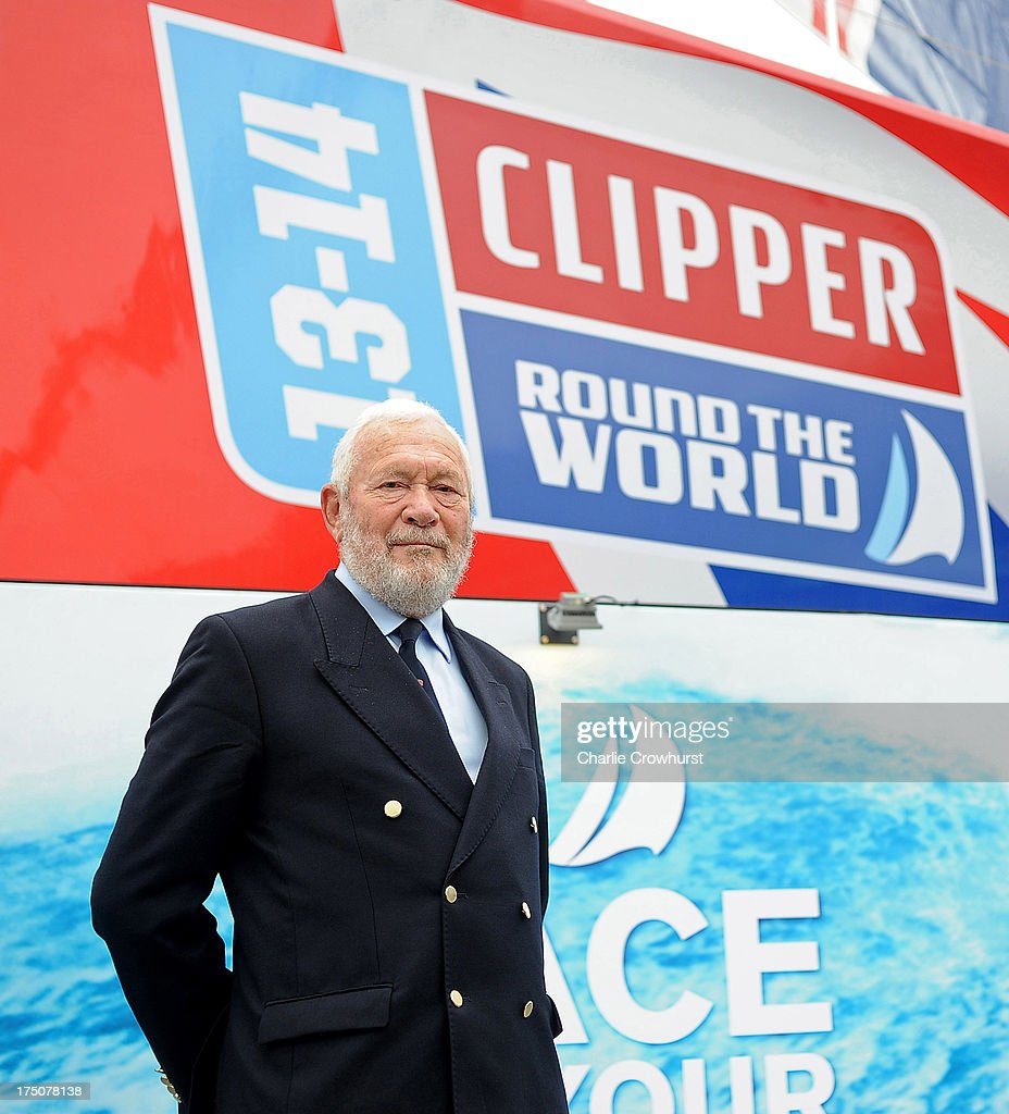 Clipper Race Chairman and Founder Robin Knox-Johnston poses for a photo infront of The Great Britain Yacht during the Clipper Round the World Yacht Race Press Conference at Trafalgar Square on July 31, 2013 in London, England.