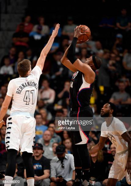 Clippers forward Paul Pierce takes a shot over Denver Nuggets forward Juancho Hernangomez during the second quarter on March 16 2017 in Denver...