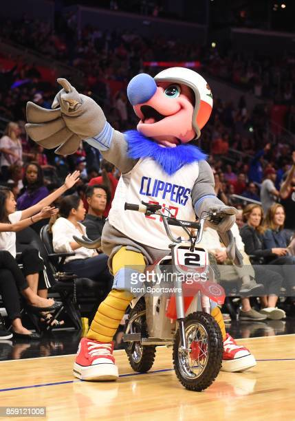 Clippers mascot Chuck the Condor rides a mini bike during an NBA preseason game between the Portland Trail Blazers and the Los Angeles Clippers on...