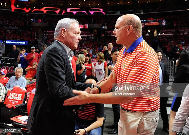 Clippers owner Steve Ballmer and Spurs owner Peter Holt shake hands before a basketball game between the San Antonio Spurs and Los Angeles Clippers...