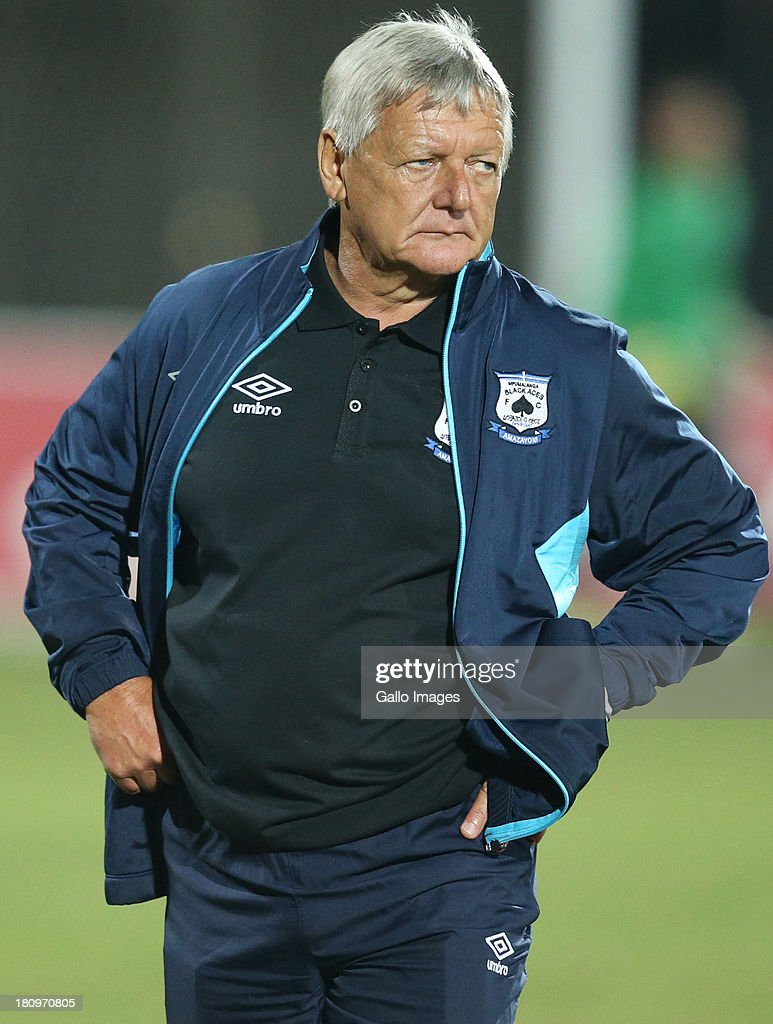 Clive Barker Head Coach of MP Black Aces during the Absa Premiership match between Maritzburg United and MP Black Aces at Harry Gwala Stadium on September 18, 2013 in Durban, South Africa.