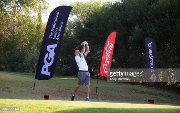 Clive Bicknell of Newquay Golf Club plays his first shot on the 1st tee during The Lombard Trophy Final Day One on September 21 2017 in Albufeira...