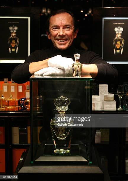 Clive Christian creator of 'No1 Perfume' poses with his perfume at the Roja Dove Haute Parfumerie in Harrods on November 28 2007 in London England...