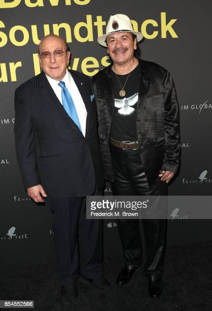 Clive Davis and Carlos Santana attend the Apple Music Los Angeles Premiere Of 'Clive Davis The Soundtrack Of Our Lives' at Pacific Design Center on...