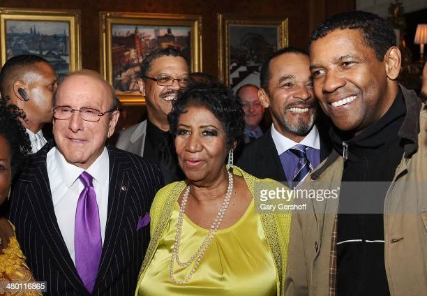 Clive Davis Aretha Franklin and actors Denzel Washington and Clifton Davis attend Aretha Franklin's 72nd Birthday Celebration at The RitzCarlton...