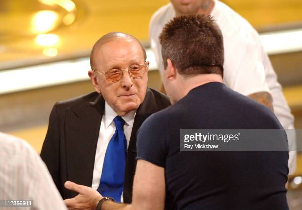 Clive Davis guest judge with Simon Cowell judge during 'American Idol' Season 4 Performance Show May 17 2005 at American Idol Studio in Los Angeles...