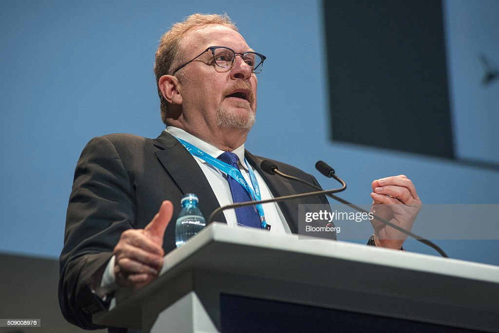 Clive Johnson, chief executive officer of B2Gold Corp., gestures whilst speaking on the opening day of the Investing in African Mining Indaba in Cape Town, South Africa, on Monday, Feb. 8, 2016. With many miners battling to stay afloat, fewer are willing to shell out 1,140 pounds ($1,641) for the Investing in African Mining Indaba conference in South Africa and business-class airfare. Photographer: Waldo Swiegers/Bloomberg via Getty Images