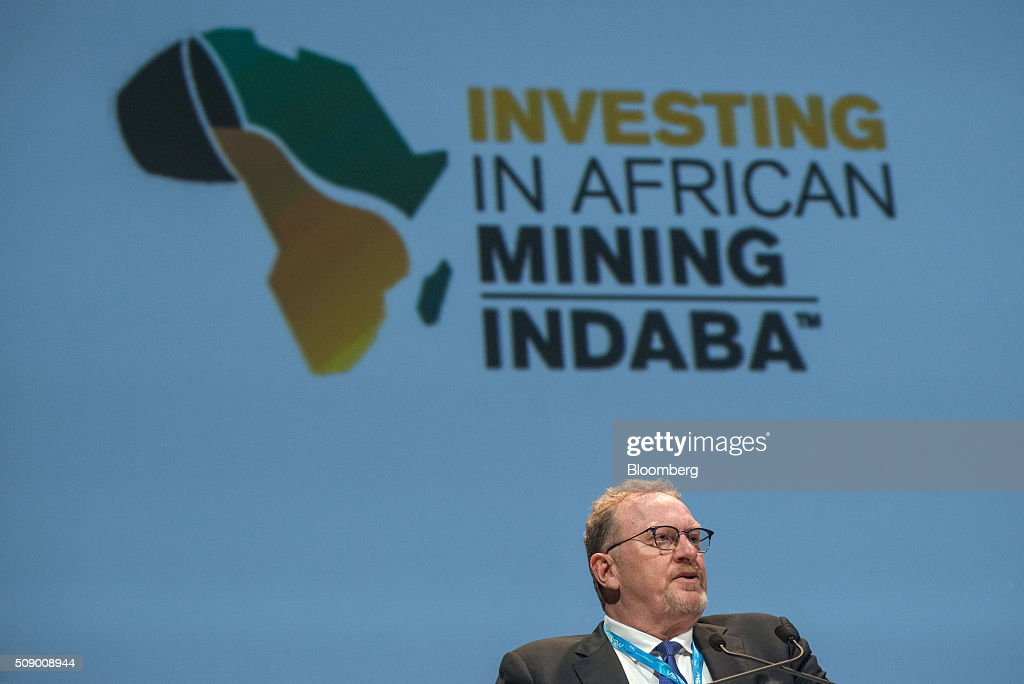 Clive Johnson, chief executive officer of B2Gold Corp., speaks on the opening day of the Investing in African Mining Indaba in Cape Town, South Africa, on Monday, Feb. 8, 2016. With many miners battling to stay afloat, fewer are willing to shell out 1,140 pounds ($1,641) for the Investing in African Mining Indaba conference in South Africa and business-class airfare. Photographer: Waldo Swiegers/Bloomberg via Getty Images