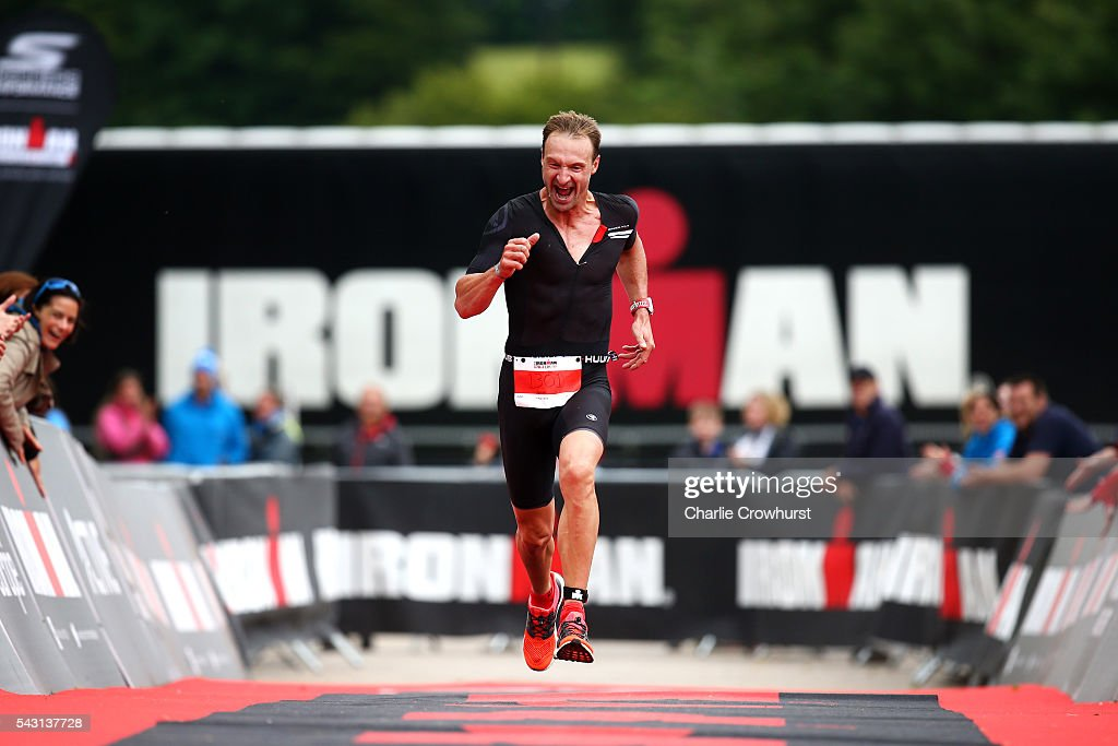 Clive Kennedy-Burn storms down the finish chute to finish in 2nd place during the Ironman 70.3 UK at Exmoor National Park on June 26, 2016 in Somerset, England.