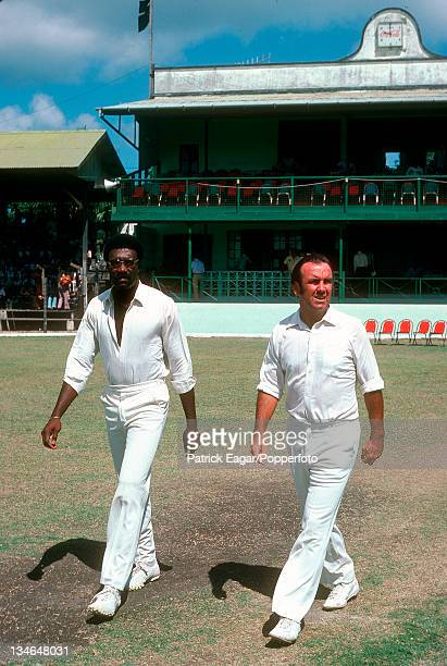 Clive Lloyd and Bobby Simpson go out to toss West Indies v Australia 2nd Test Bridgetown March 197778