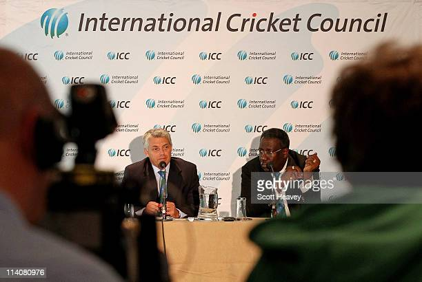 Clive Lloyd Chairman of the ICC Cricket Committee and David Richardson ICC general manager of Cricket speak to the media during an ICC Cricket...