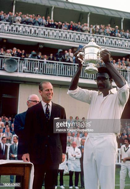 Clive Lloyd the West Indies captain is awarded the Prudential Trophy by HRH Prince Philip after his team had defeated Australia Australia v West...