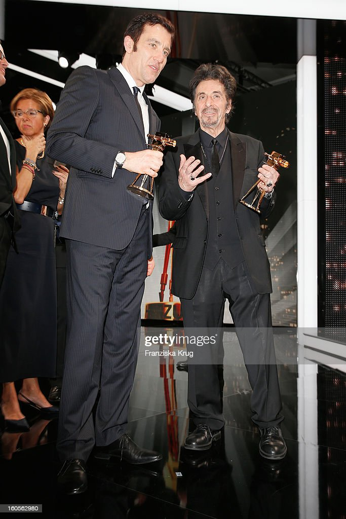 Clive Owen and Al Pacino attend 'Goldene Kamera 2013' at Axel Springer Haus on February 2, 2013 in Berlin, Germany.