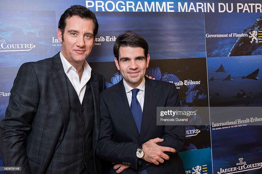 Clive Owen and Jerome Lambert pose during 'Jaeger Lecoultre Support UNESCO and Oceans World Heritage Conservation' Cocktail event at JaegerLecoultre...