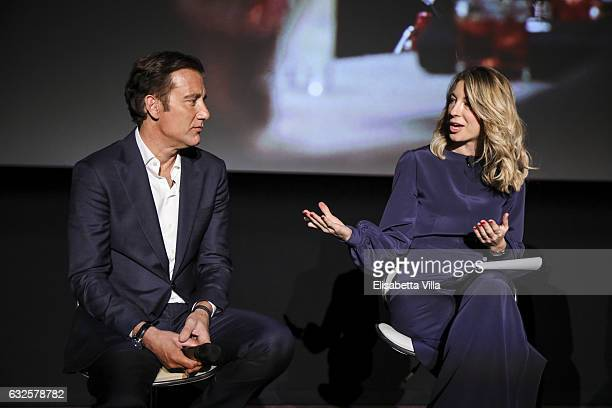 Clive Owen and Mia Ceran attend the 'Campari Red Diaries' press conference on January 24 2017 in Rome Italy