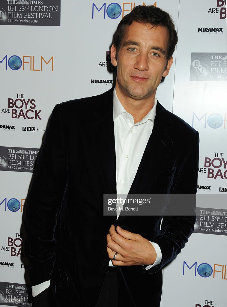 Clive Owen attends the premiere for 'The Boys Are Back' during the Times BFI London Film Festival at the Vue Leicester Square on October 21 2009 in...