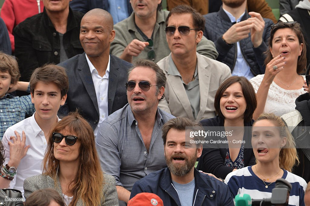 Clive Owen Jean Dujardin and Nathalie Pechalat Clovis Cornillas and Lilou Fogli attend the French Tennis Open Day Fifteen with the Final between...