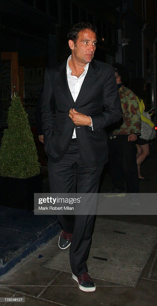 Clive Owen leaving the Groucho club on July 10, 2013 in London, England.