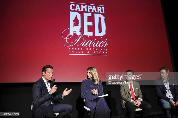 Clive Owen Mia Ceran Bob KunzeConcewitz and Paolo Sorrentino attend the 'Campari Red Diaries' press conference on January 24 2017 in Rome Italy